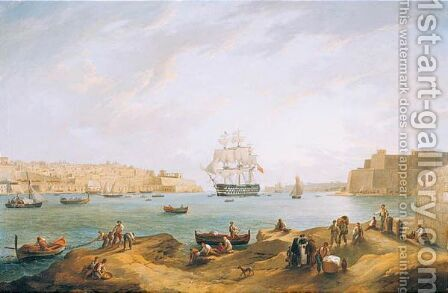A View Of The Grand Harbour At Valetta by Anton the Younger Schranz - Reproduction Oil Painting