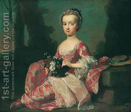 Portrait Of A Child 2 by (after) George Knapton - Reproduction Oil Painting