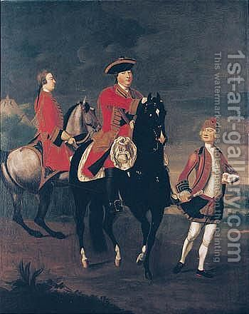 Equestrian Portrait Of Augustus, Duke Of Cumberland, With An Aide De Camp, And A Highland Servant by David Morier - Reproduction Oil Painting