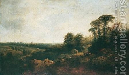Landscape With Goatherds Resting by (after) Edward Charles Williams - Reproduction Oil Painting