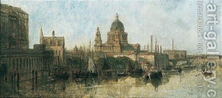 St Paul's From Waterloo Bridge by David Roberts - Reproduction Oil Painting
