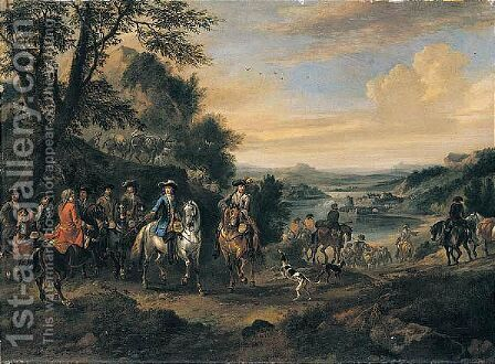 William III And His Staff, With Dutch And British Troops On The March by Jan Wyck - Reproduction Oil Painting