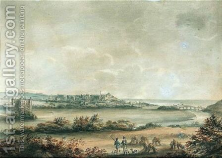 Huntsmen Near Duff House With A Distant View Of The Town Of Banff On Moray Firth by (after) Hugh William Williams - Reproduction Oil Painting