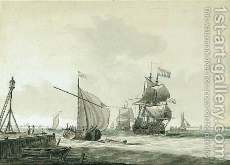 Dutch East Indiaman And Other Shipping In The Zuider Zee by Dominic Serres - Reproduction Oil Painting