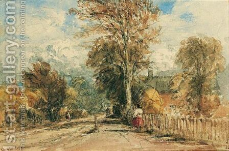 A Figure On A Country Road by David Cox - Reproduction Oil Painting