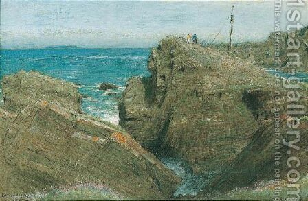 Hartland Quay, Devon by Albert Goodwin - Reproduction Oil Painting