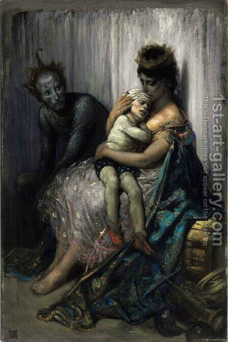 La Famille Du Saltimbanque L'Enfant Blesse by Gustave Dore - Reproduction Oil Painting