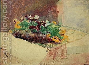 Nature Morte Aux Fleurs by Edouard  (Jean-Edouard) Vuillard - Reproduction Oil Painting