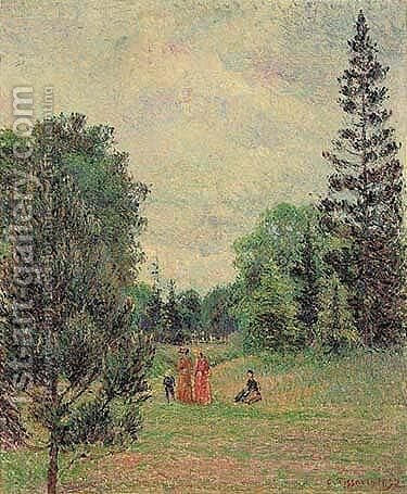 Jardin de Kew, la carrefour pres de l'Etang by Camille Pissarro - Reproduction Oil Painting