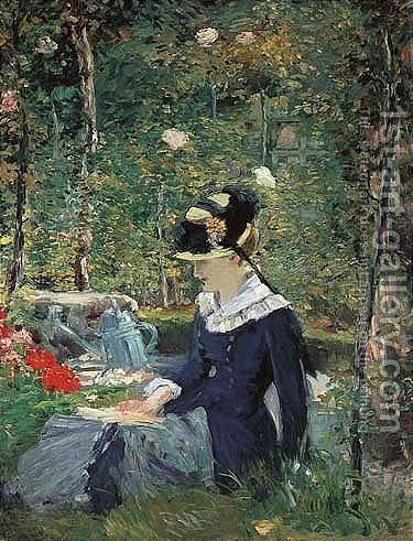 Jeune Fille Dans Un Jardin by Edouard Manet - Reproduction Oil Painting