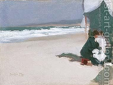 Mujer Y Nino En La Playa (Mother And Child On The Beach) by Cecillio Pla Y Gallardo - Reproduction Oil Painting