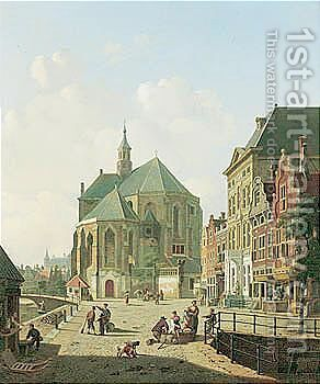 A Dutch Street Scene by Jan Hendrik Verheyen - Reproduction Oil Painting