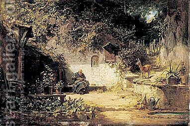 Der Eremit Vor Der Klause (Hermit Seated Outside His Hut) by Carl Spitzweg - Reproduction Oil Painting