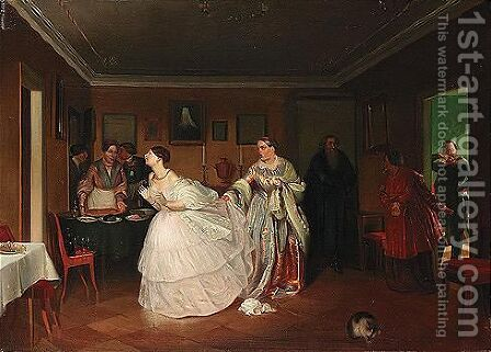 The major's marriage proposal by (after) Pavel Andreevich Fedotov - Reproduction Oil Painting