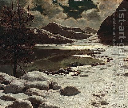 Nightfall over the lake by Ivan Fedorovich Choultse - Reproduction Oil Painting