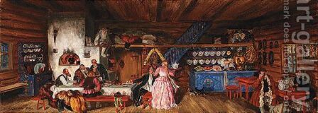 Inside the tavern, set design for the power of the enemy by Boris Kustodiev - Reproduction Oil Painting