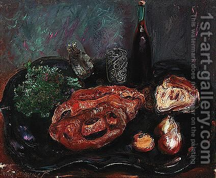 Still life with bread and onions by Boris Dmitrievich Grigoriev - Reproduction Oil Painting