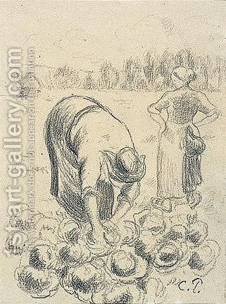 Femme Cueillant Des Choux by Camille Pissarro - Reproduction Oil Painting