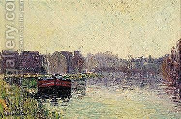 Peniches Au Bord De L'Oise by Gustave Loiseau - Reproduction Oil Painting