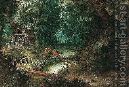 A landscape with saint mary magdalene attended by angels in her hut by (after) Abraham Govaerts - Reproduction Oil Painting