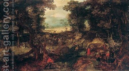 A landscape with travellers on a forest road by (after) Jan The Elder Brueghel - Reproduction Oil Painting