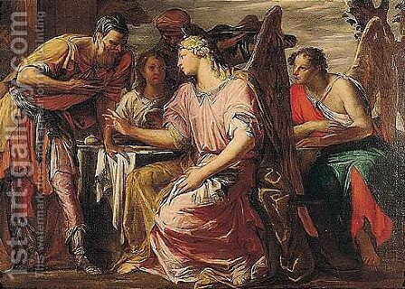 Abraham And The Three Angels by Giovanni Antonio Fumiani - Reproduction Oil Painting