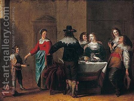 A Merry Company In An Interior by (after) Christoffel Jacobsz Van Der Lamen - Reproduction Oil Painting