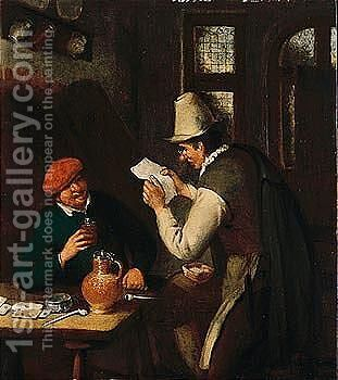 A Tavern Interior With A Man Drinking And Another Reading A Letter by Cornelis Dusart - Reproduction Oil Painting