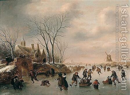 Winter Landscape With Skaters 3 by Claes Molenaar (see Molenaer) - Reproduction Oil Painting
