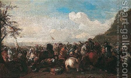 A Cavalry Battle 7 by (after) Jacques (Le Bourguignon) Courtois - Reproduction Oil Painting