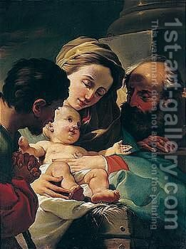 The adoration of the christ child by (after) Ubaldo Gandolfi - Reproduction Oil Painting