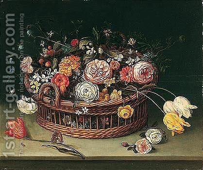 Still life of roses, tulips, bluebells and carnations in a wicker basket with a butterfly by (after) Jan The Elder Brueghel - Reproduction Oil Painting
