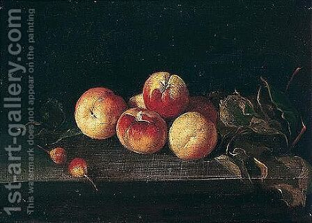 Still life of peaches and crab apples upon a stone ledge by Italian School - Reproduction Oil Painting