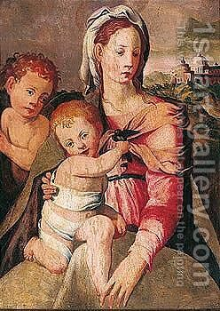 The madonna and child with the infant Saint John the Baptist by (after) (Jacopo Carucci) Pontormo - Reproduction Oil Painting