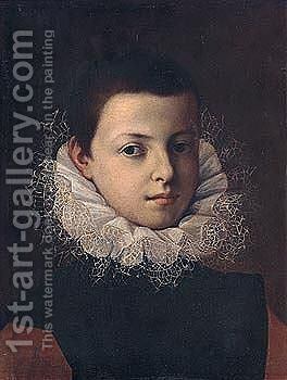 Portrait of a boy, half-length, wearing a black doublet with brown sleeves, and a lace ruff by (after) Tranquillo Cremona - Reproduction Oil Painting