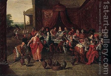 The marriage at Cana 4 by (after) Frans II Francken - Reproduction Oil Painting