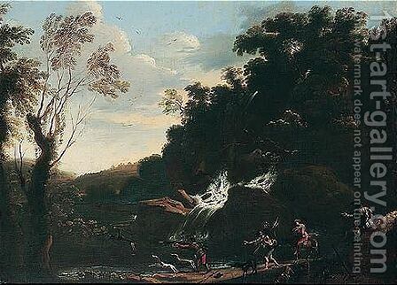 Landscape with a stag hunt by (after) Pandolfo Reschi - Reproduction Oil Painting