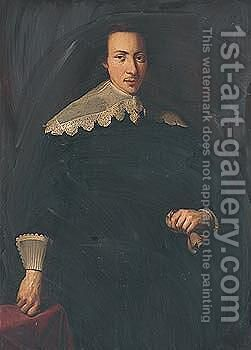 Portrait of a man, three-quarter length, wearing black and holding a glove in his left hand by Dutch School - Reproduction Oil Painting