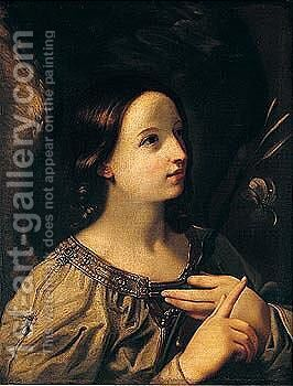 The angel of the annunciation 2 by (after) Guido Reni - Reproduction Oil Painting