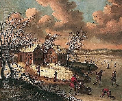 A winter landscape with figures skating on a frozen river before a hamlet by (after) Jan Griffier I - Reproduction Oil Painting