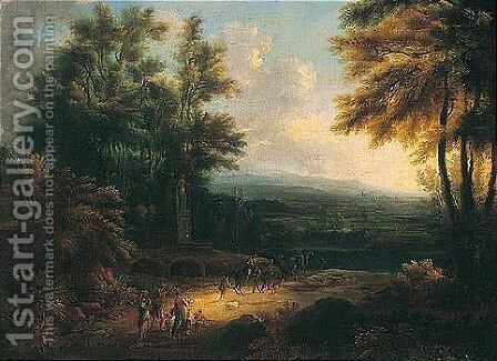 A Wooded Landscape With A Band Of Travellers On A Track Before A Fountain by (after) Johann Alexander Thiele - Reproduction Oil Painting