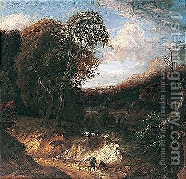 A Wooded Landscape With Figures Rested On A Path, Sheep Grazing Beyond by Cornelis Huysmans - Reproduction Oil Painting