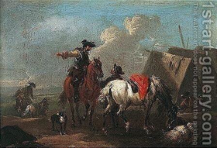 Horsemen Beside An Encampment by August Querfurt - Reproduction Oil Painting