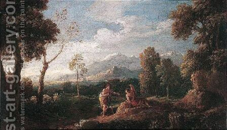 A Wooded Landscape With Figures Conversing In The Foreground by (after) Jan Frans Van Orizzonte (see Bloemen) - Reproduction Oil Painting