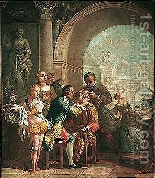 A Man Being Administered By A Doctor, In Elegant Architectural Surroundings by (after) Giuseppe Gobbis - Reproduction Oil Painting