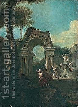 Elegant figures playing amongst antique ruins by (after) Marco Ricci - Reproduction Oil Painting