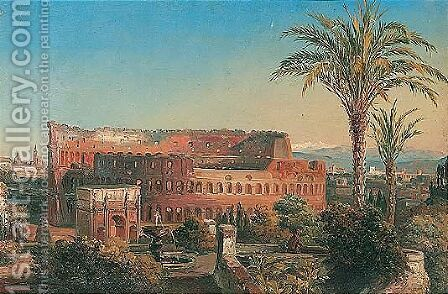 Rome, a view of the Colisseum with the arch of Constantine by Italian School - Reproduction Oil Painting