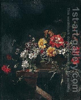 Still life of flowers in a vase on a ledge by (after) Jean Picart - Reproduction Oil Painting