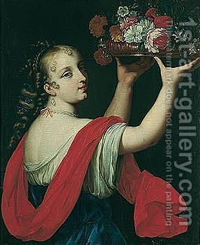A portrait of a young lady, holding up a basket of flowers by (after) Loo, Carle van - Reproduction Oil Painting