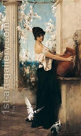 Am Brunnen (At The Well) by Carl Wunnenberg - Reproduction Oil Painting
